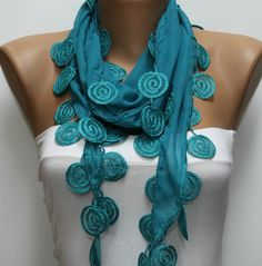 Teal  Scarf  -by fatwoman, $15.00