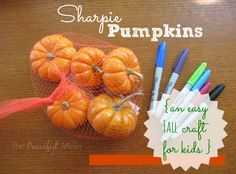 Have fun with your kids with these Sharpie Mini Pumpkins - a fun and easy Fall craft from ThePeacefulMom.com