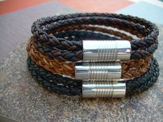 Double Strap Braided Mens Leather Bracelet by UrbanSurvivalGearUSA, $29.99