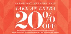 SAVE AN EXTRA 20% OFF SALE ITEMS!!!  STEALS FOR YOUR HOLIDAY SHOPPING LIST!!    We're giving summer a proper send-off this weekend with deals up to 60% off!   Displayed prices reflect extra 20% off. Better hurry - offer ends 9/3 & quantities are limited!    Shop at www.stelladot.com/bishposh