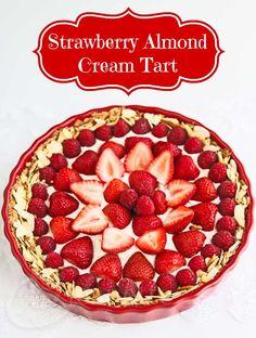Strawberry Almond Cream Tart  © Jeanette's Healthy Living #glutenfree #dessert #strawberry dessert strawberri, tart recipes, food, cream tart, almond cream, strawberri almond