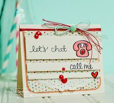 Retro card uses cute set by Neat and Tangled called, Just Hello. From Thoughts of a Cardmaking Scrapbooker!