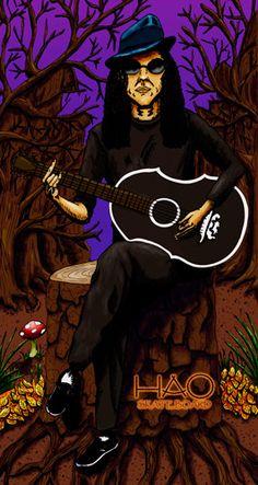 Una ilustración realizada para HAO Skatebord. Un guitarrista melancólico en la soledad del bosque. This is a Illustration I did it for HAO SkateBoard. A melancholy guitar player alone in the Forest.