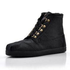 http://www.Toms.com/ mens Toms Highlands Wool Fleck Fleece Black Shoes $66.99