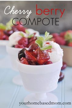 Easy Dessert Recipes | Cherry Berry Compote | TodaysCreativeBlog.net  Guest post by YourHomebasedMom