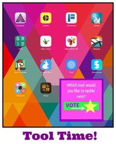 TOUCH this image: Tool Time for Teachers by Donna Baumbach - a few new apps here that are very promising  for the new school year!
