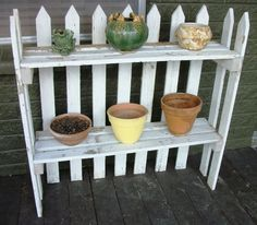 Picket Fences: Salvaged & Repurposed  crafts & home decor. Perfect plant stand in kitchen but make smaller.