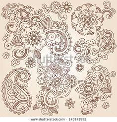 Henna Paisley Flowers Mehndi Tattoo Doodles Set- Abstract Floral Illustration Design Elements - stock vector