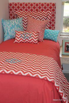 Coral and Aqua Dorm Room Bedding | Sorority and Dorm Room Bedding