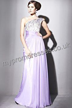 Floor length One-shoulder Purple Satin A-line Evening Dress  http://www.mypromdresses.co.uk/