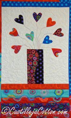 Hearts in a Vase  Quilted Wall Hanging  On by castillejacotton, $59.00