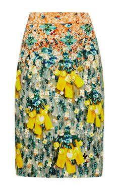 Diamond Printed Satin Skirt by Mary Katrantzou - Moda Operandi