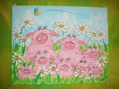 Perfect Pink Piggies Original Painting Made To Order by YelliKelli, $75.00