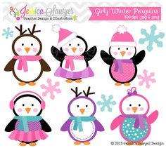 Girls Penguin Clipart , winter baby shower, winter birthday party