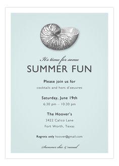 Summer Seashells Invitation.