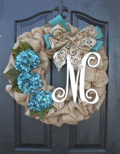 Burlap Wreath with blue Hydrangea...use wedding leftover burlap and flowers to make