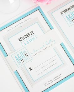 Tiffany Blue and Silver Wedding Invitations