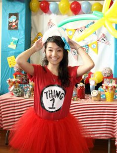Dr. Suess Birthday Party     DIY Thing One Costume (and baby belly could have thing 2)