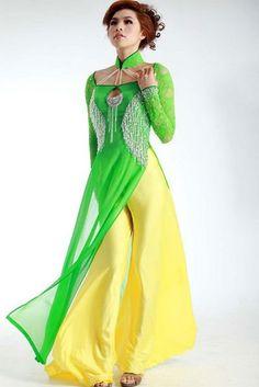 Áo dài ren đá - RD674 / Our September hottest dress with blue dress and yellow pants a gentle combined :) / http://aodaihoanguyen.com/ao-dai/ao-dai-ren-da/chi-tiet/2845-ao-dai-ren-da-rd674#.UGKfFKMjGqk
