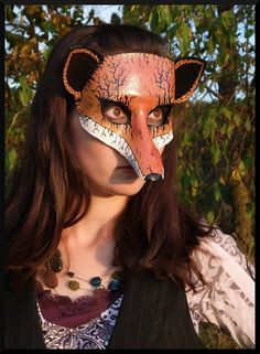 Halloween Leather Fox Mask by SquirrelCrkCreations on Etsy, $35.00