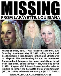 Please help us find Mickey Shunick if you have any any information please contact her parents or the poilce. We need your help, please invite everyone you know to this page to help share awareness!!!! ***Please Repin***