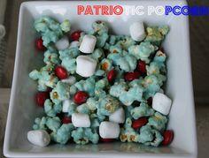 Patriotic Popcorn Snack Mix Recipe #MemorialDay #4thofJuly #PatrioticSnacks