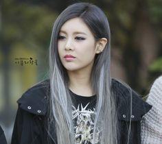 Long grey silver straight hair