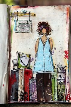 Traveling She Art Mixed Media Canvas (again not a canvas but would make a great one!) : Behind The Art | ChristyTomlinson.TypePad.Com
