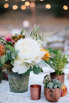 Copper vessels   Photo by Annie McElwain   Read more - http://www.100layercake.com/blog/?p=78950 #wedding #ojai #california #reception