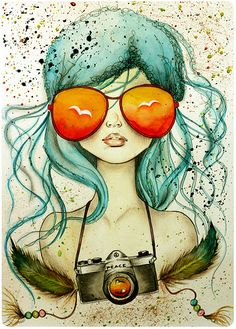 Peace Camera california girls, bon voyage, illustrations, camera, blue hair, art, at the beach, beach time, sunglasses