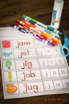 CVC cut and paste worksheet. A FUN, hands on activity sheet to help children learning to read. (Link to free printable.)