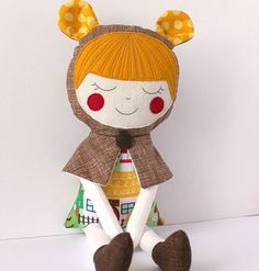 Goldilocks handmade rag doll. Soft cloth doll toy. Gift for girls. Fairytales character. Personalized doll