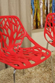 Birch Sapling Red Plastic Accent/Dining Chairs