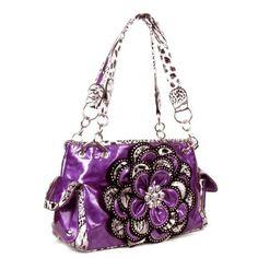 Handbags, Bling & More! Crystal Leaf Purple Leopard Rhinestone Flower Handbag : Flower Purses In Stock $45