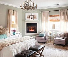 decor, wall colors, bedrooms master, fireplac, bedroom colors, master bedrooms, sitting areas, bedroom windows, color scheme