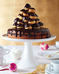 "Jam-Filled Cake with Chocolate Glaze - An easier version of a classic croquembouche. Guaranteed to get ""ooohs"" and ""aaahs"" at the dinner table!"