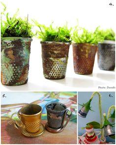 Fairy Garden Ideas using thimbles