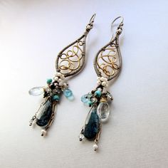 Hand Crafted The Majestic Peacock Earrings, Sterling Silver, Gold, Blue Kyanite, Aquamarine, Apatite by Noria Jewelry | CustomMade.com