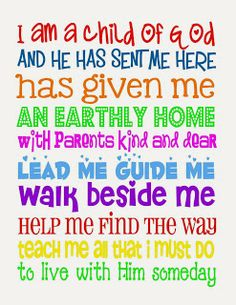Free LDS Printables- I am a Child of God