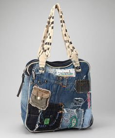 shabby denim bag. [Use the pockets to make real pockets here inside and out. Use old belts for the straps. Yes! myb]
