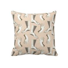 Throw Pillow with Pattern of Elegant Engraved Hands and Feet