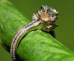 UNIQUE Flower Rose Diamond Engagement or Right Hand Ring - 2.25 carat - 14K yellow gold - 14k White gold - 14K rose gold- wedding - brides. $5,500.00, via Etsy.