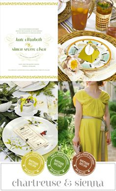 Magnolia Rouge: Chartreuse & Sienna Wedding Inspiration Board