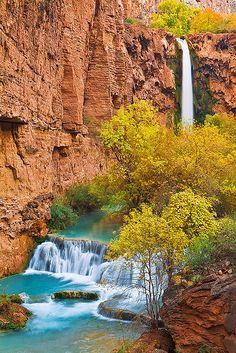 Mooney Falls and Cascades, Havasu Canyon, at the bottom of the Grand Canyon in Arizona