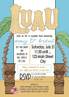 LUAU Tropical Couples Shower Birthday by LaLoopsieInvites on Etsy, $8.95