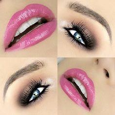 Rose lips and subtly smokey eyes