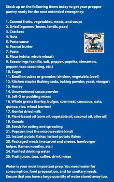 Prepper Pantry List- stock up on the basics to be prepared in the event of an emergency