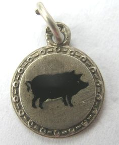 VINTAGE GERMAN 1920s SILVER ENAMEL LUCKY PIG CHARM