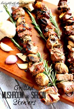 Grilled Mushroom and Sirloin Skewers with Rosemary Shallot Marinade