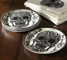 I want ! skulls, halloween decorations, plates, salad plate, kitchen, skull plate, fall table decorations, salads, pottery barn